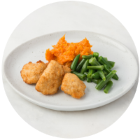 Chicken Bites, Mashed Yams & French Green Beans no sauce_circle