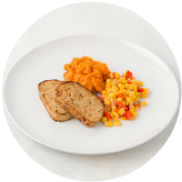 Turkey Meatloaf, Mashed Yams & Corn Saute no sauce_circle