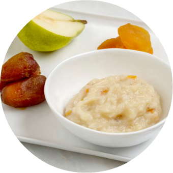 Anjou pear, apricot and deglet date puree baby food