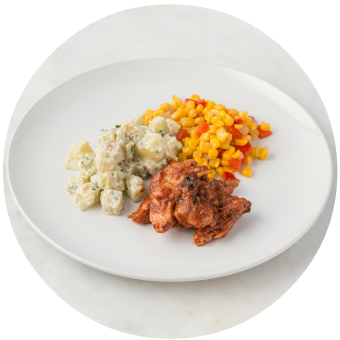 BBQ Chicken with Potato Salad & Succotash_circle