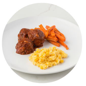 BBQ Red Lentil Meatballs with Corn Pudding & Roasted Carrots_circle
