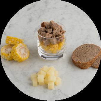 Beef Meatloaf, Steamed Potato & Corn