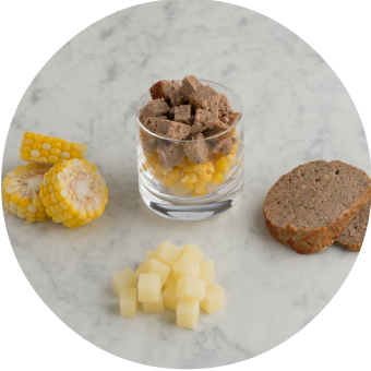 beef, meatloaf, steamed potato, and corn meal for babies