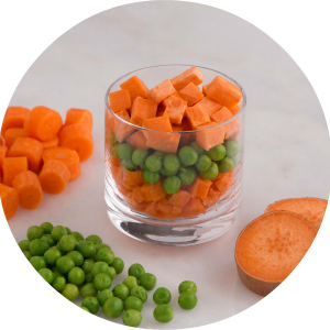carrot, English peas, garnet and yam meal for babies