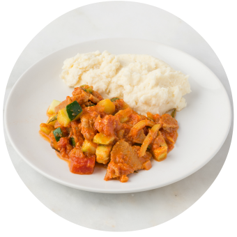 Cauliflower Mashed Potatoes with Summer Stew_circle