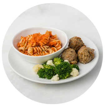 Chicken Meatballs & Pasta with Broccoli & Cauliflower_circle