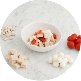 chicken, tomato, mozzarella and white bean finger food for babies
