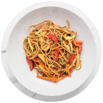 Chinese Noodle Salad with Vegetables Circle