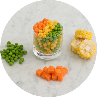 English peas, sweet corn and sweet potato finger food for babies