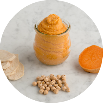 garnet, yam, chickpea and chicken puree for babies