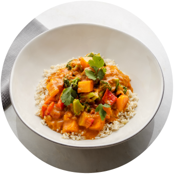 Madras Chicken & Vegetable Curry over Brown Rice Circle