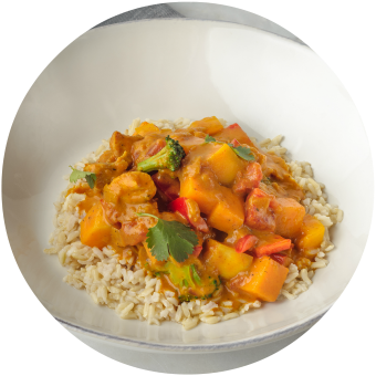 Madras Vegetable Curry over Brown Rice Circle