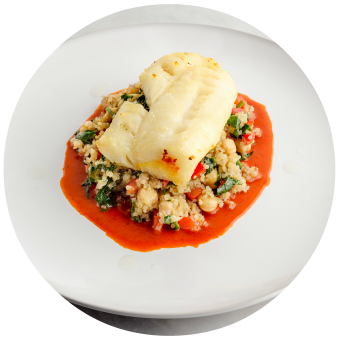 Roasted Cod with Cremini Mushrooms, Red Pepper & Spinach Saute Circle
