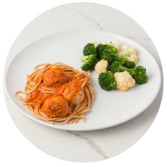 Spaghetti & Chicken Meatballs with Broccoli & Cauliflower no sauce_circle
