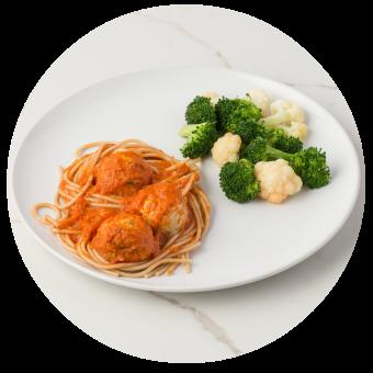 Spaghetti & Chicken Meatballs with Broccoli & Cauliflower no sauce_circle