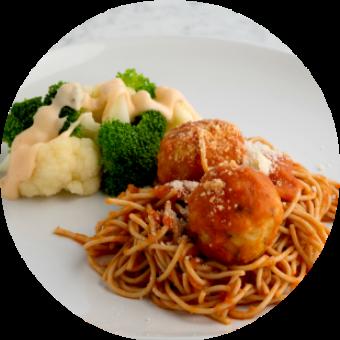 Spaghetti with Chicken Meatballs and Cheesy Broccoli and Cauliflower