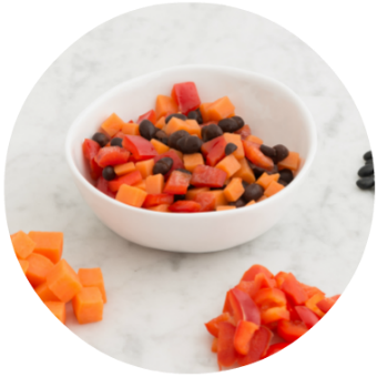 sweet potato, red pepper and black bean finger food for babies