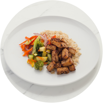 Teriyaki Tofu over Brown Rice Circle