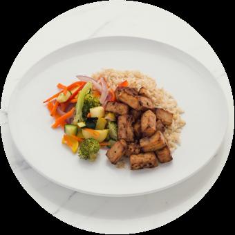 Teriyaki Tofu over Brown Rice Circle