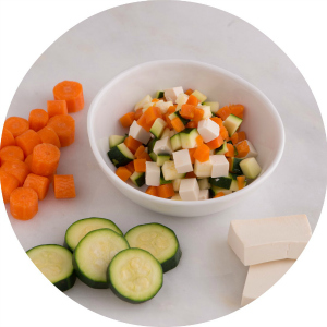 tofu, sweet soy, glazed carrot and zucchini finger food for babies