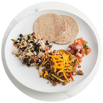 Turkey Tacos with Rice & Beans Circle