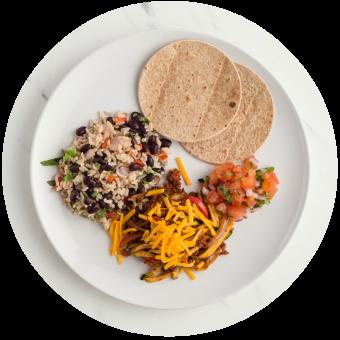 Veggie Chorizo Tacos with Rice & Beans Circle