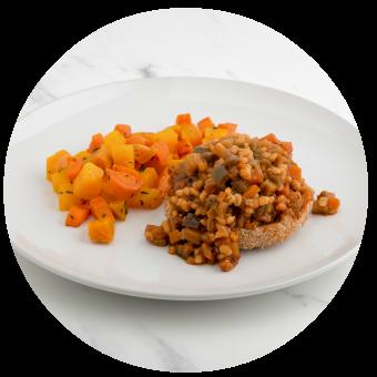 Veggie Sloppy Joes with Glazed Carrots & Beets Circle