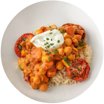 Veggie Tikka Masala over Brown Rice_Subscription Site Circle