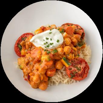 Veggie Tikka Masala over Brown Rice_Subscription Site Circle