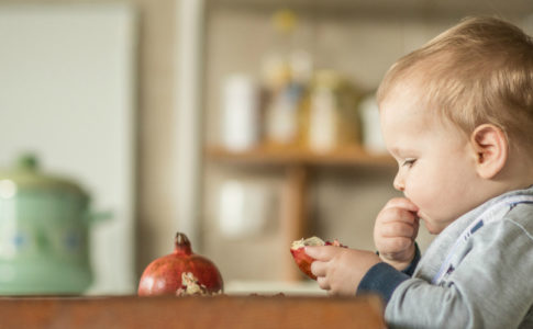 toddler in chair high chair eating fruit