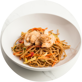Chinese Chicken Noodle Salad with Vegetables Circle