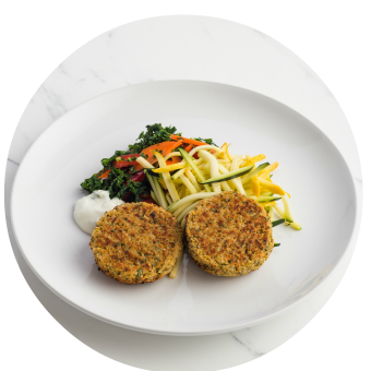 Falafel Cakes with Yellow Squash & Zucchini Noodles Circle