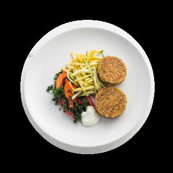 Falafel Cakes with Yellow Squash & Zucchini Noodles_birds eye Circle
