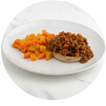 Sloppy Joes with Glazed Carrots & Beets Circle